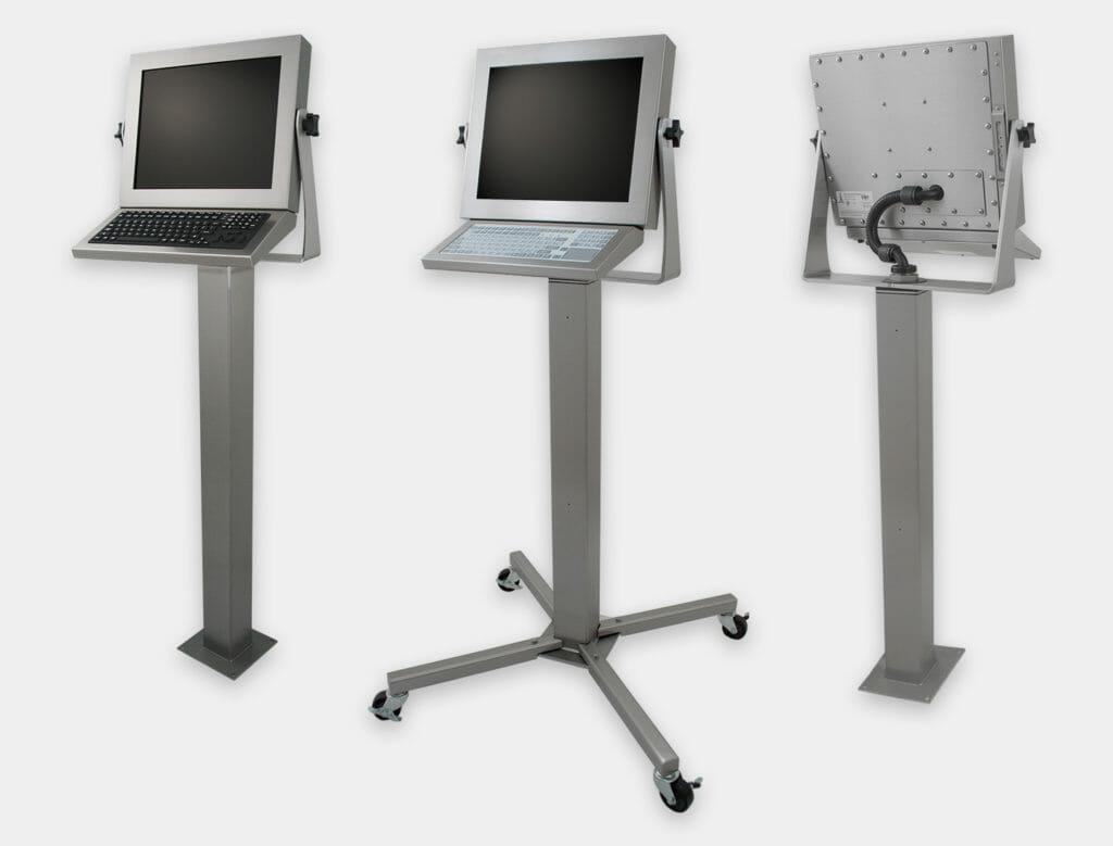 Opciones de montaje de pedestal para industria pesada para monitores de montaje universal y pantallas táctiles, con clasificación IP65/IP66