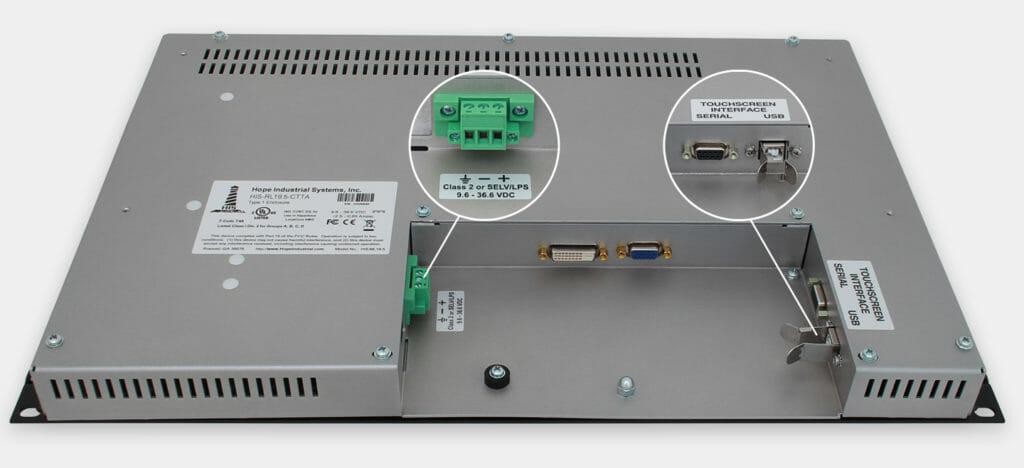 """Monitores industriales de montaje en bastidor con pantalla panorámica de 19,5"""" y pantallas táctiles resistentes según IP20, vista de salida para cables de CC"""