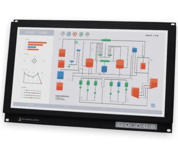 """Monitores industriales de montaje en bastidor con pantalla panorámica y pantallas táctiles resistentes según IP20 de 19,5"""""""