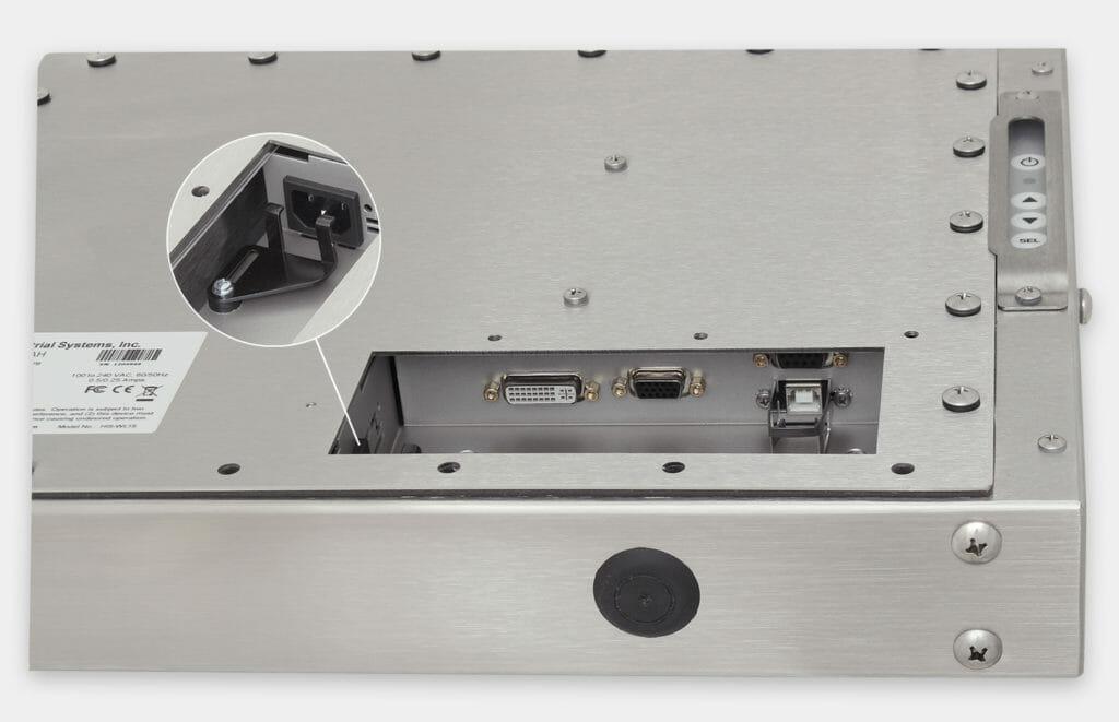 """Monitores industriales de montaje universal y pantallas táctiles resistentes según IP65/IP66 de 15"""", vista de salida para cables de CA"""