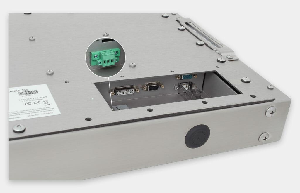 """Monitores industriales de montaje universal y pantallas táctiles resistentes según IP65/IP66 de 15"""", vista de salida para cables de CC"""