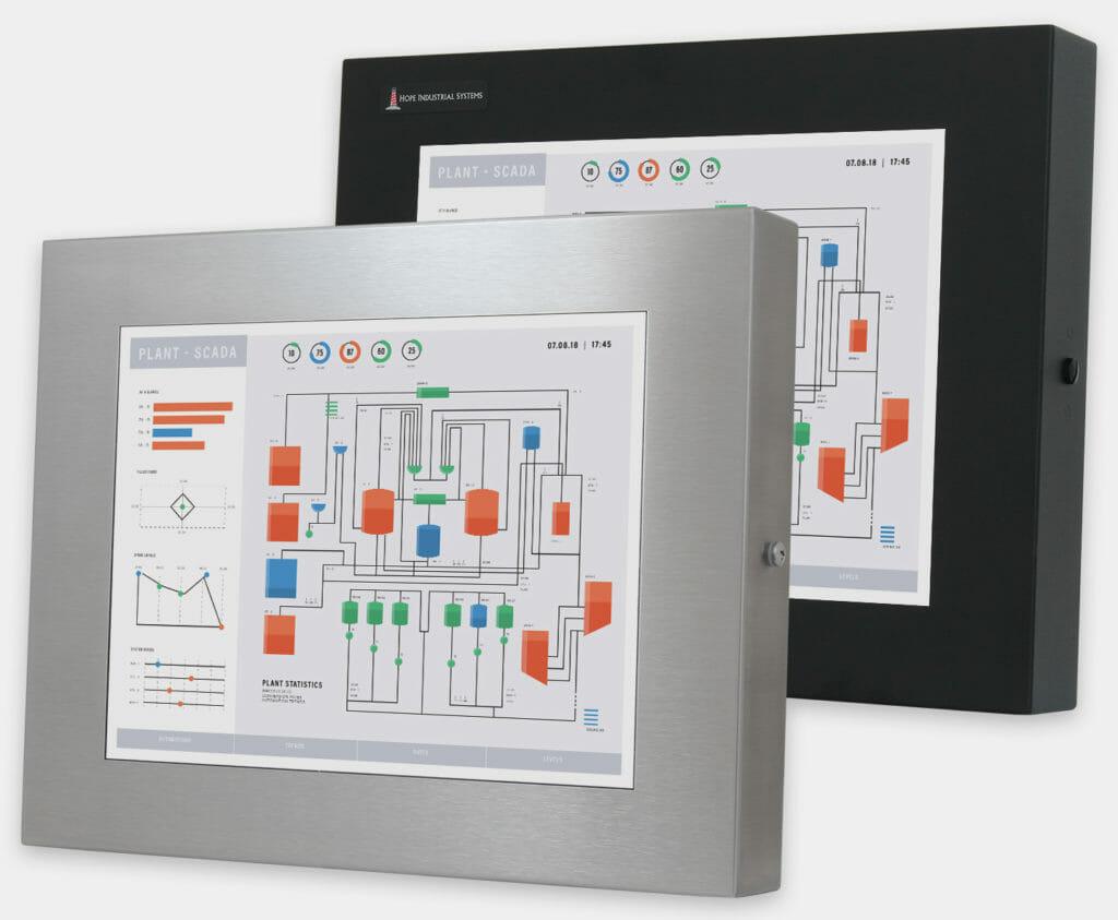 """Monitores industriales de montaje universal y pantallas táctiles resistentes según IP65/IP66 de 15"""", vista frontal"""