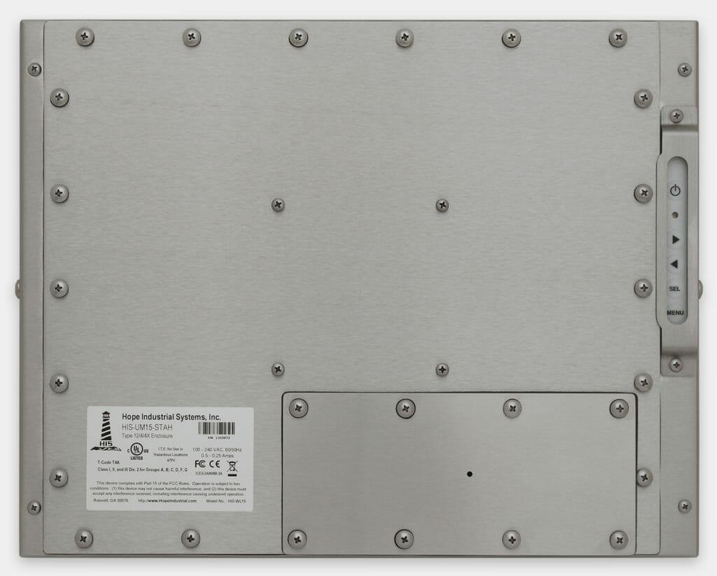 """Monitores industriales de montaje universal y pantallas táctiles resistentes según IP65/IP66 de 15"""", vista trasera"""