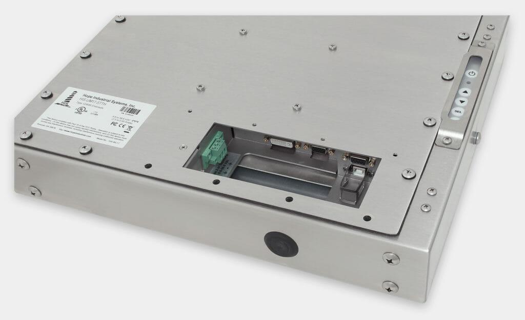 """Monitores industriales de montaje universal y pantallas táctiles resistentes según IP65/IP66 de 17"""", vista de salida para cables de CC"""