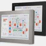 """Monitores industriales de montaje universal y pantallas táctiles resistentes según IP65/IP66 de 17"""", vista frontal"""