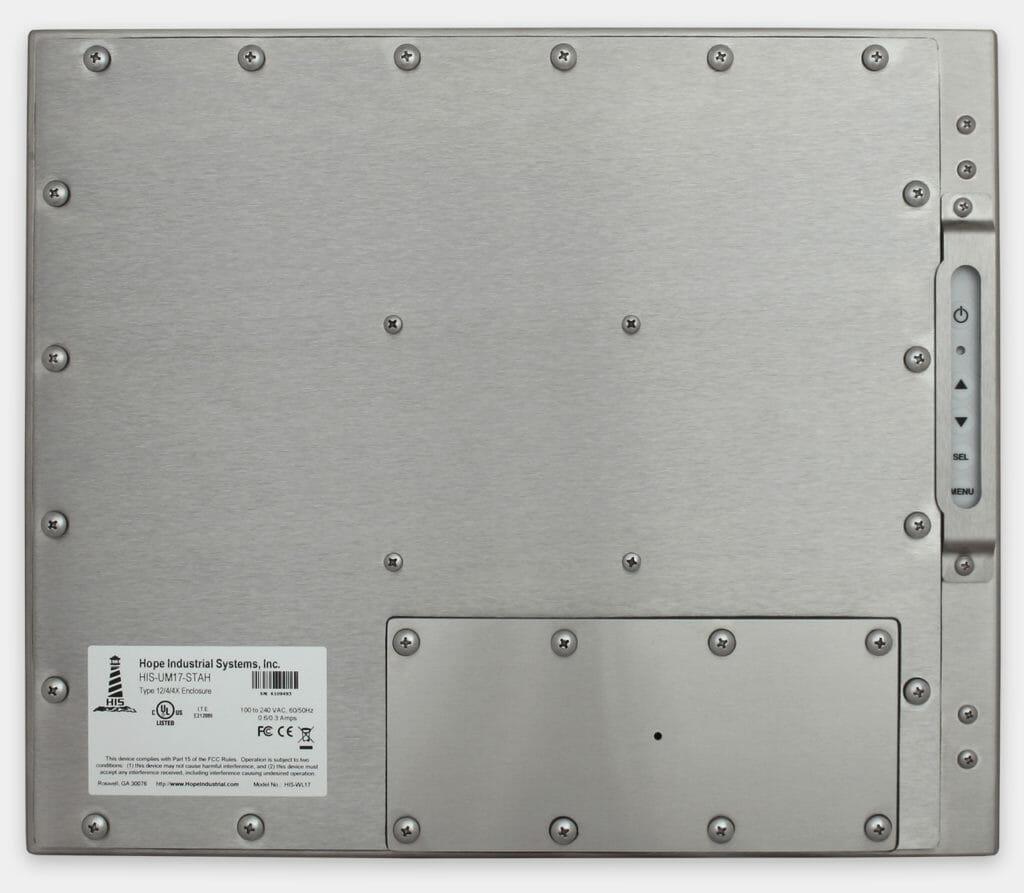 """Monitores industriales de montaje universal y pantallas táctiles resistentes según IP65/IP66 de 17"""", vista trasera"""
