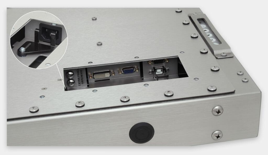 """Monitores industriales de montaje universal y pantallas táctiles resistentes según IP65/IP66 de 19"""", vista de salida para cables de CA"""
