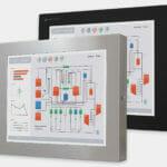 """Monitores industriales de montaje universal y pantallas táctiles resistentes según IP65/IP66 de 19"""", vista frontal"""