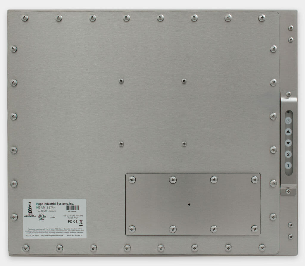 """Monitores industriales de montaje universal y pantallas táctiles resistentes según IP65/IP66 de 19"""", vista trasera"""