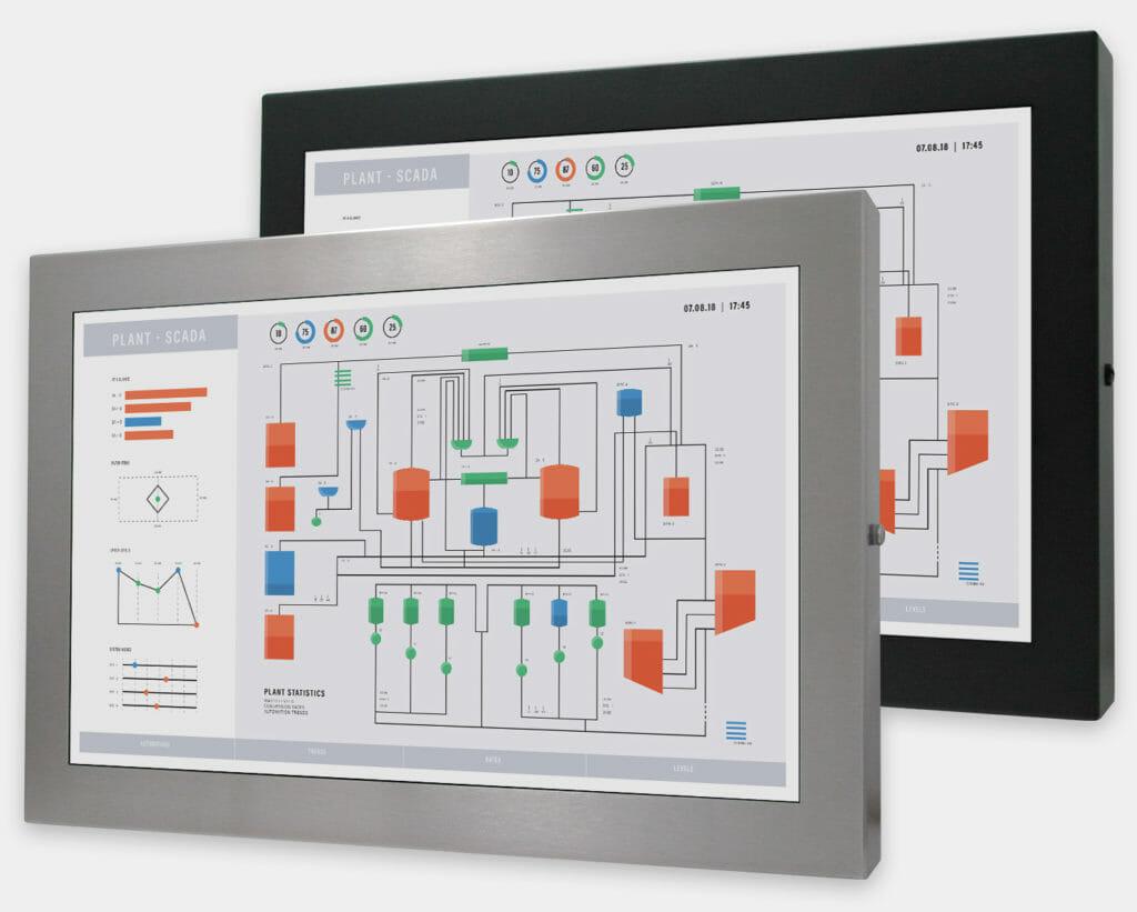 """Monitores industriales de montaje universal con pantalla panorámica y pantallas táctiles resistentes según IP65/IP66 de 22"""", vista frontal"""