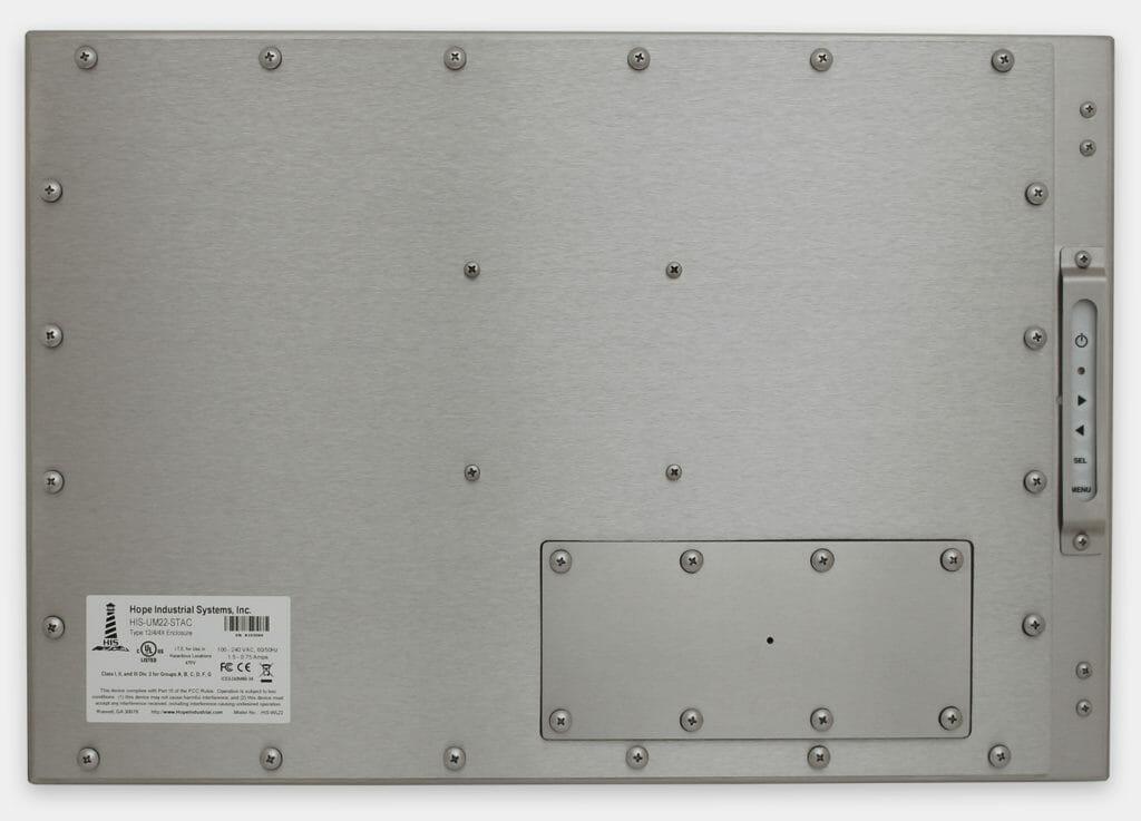 """Monitores industriales de montaje universal con pantalla panorámica y pantallas táctiles resistentes según IP65/IP66 de 22"""", vista trasera"""