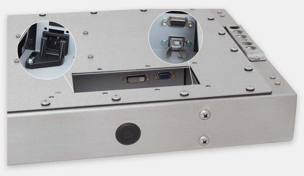 """Monitores industriales de montaje universal con pantalla panorámica y pantallas táctiles resistentes según IP65/IP66 de 23"""", vista de salida para cables de CA"""