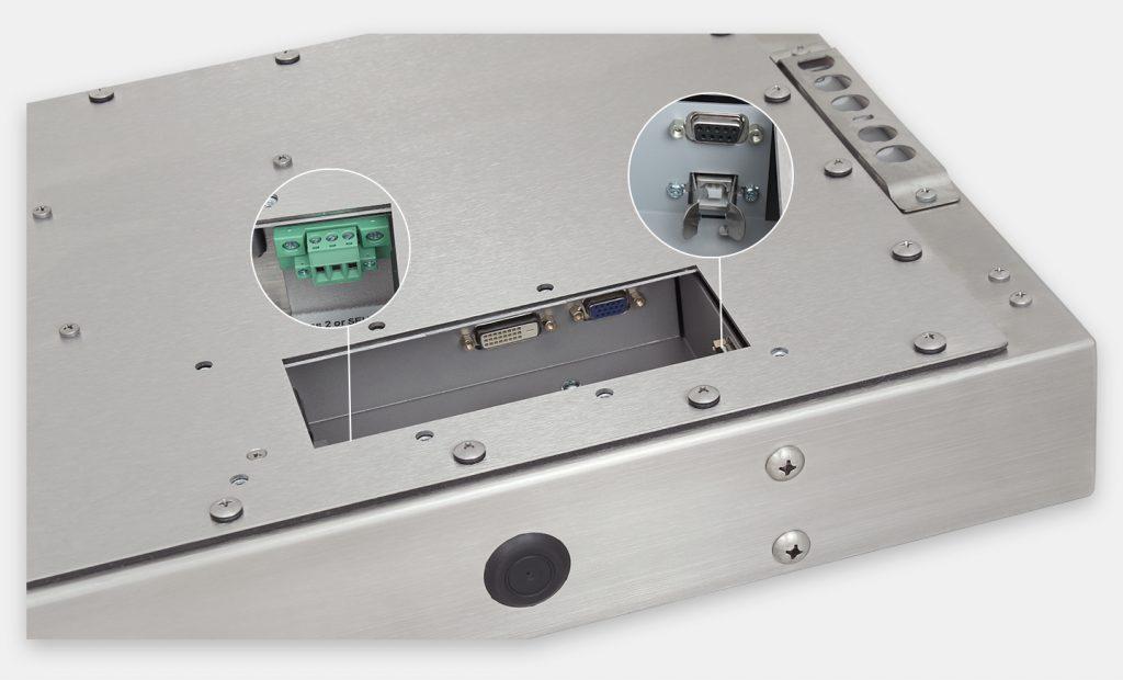 """Monitores industriales de montaje universal con pantalla panorámica y pantallas táctiles resistentes según IP65/IP66 de 23"""", vista de salida para cables de CC"""