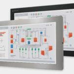 """Monitores industriales de montaje universal con pantalla panorámica y pantallas táctiles resistentes según IP65/IP66 de 23"""", vista frontal"""