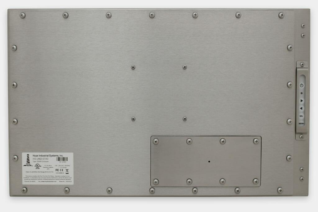 """Monitores industriales de montaje universal con pantalla panorámica y pantallas táctiles resistentes según IP65/IP66 de 23"""", vista trasera"""