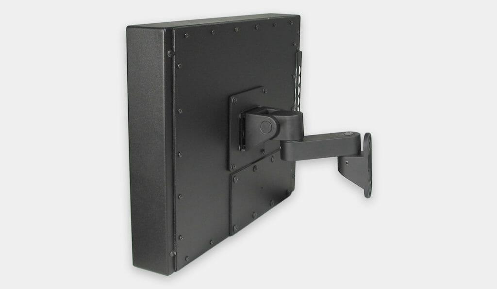 Soporte de montaje en pared VESA para monitores industriales, vista lateral con monitor montado