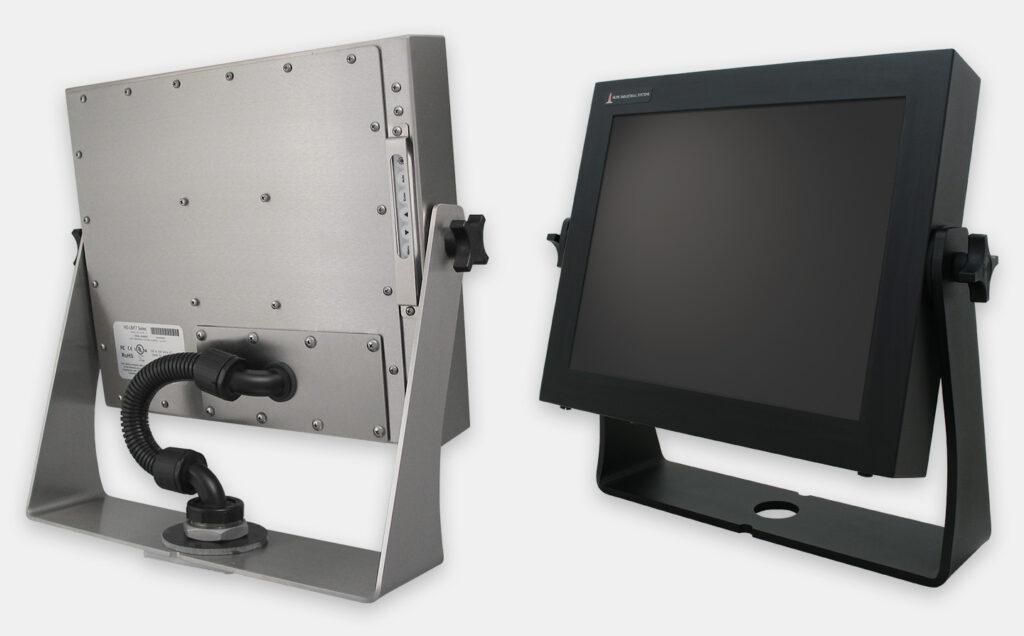 Opciones de soportes de fijación de sobremesa para industria pesada para monitores de montaje universal, con clasificación IP65/IP66, acero inoxidable y acero al carbono negro