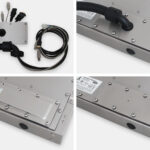 Opciones de placa de salida para cables para monitores de montaje universal y pantallas táctiles industriales