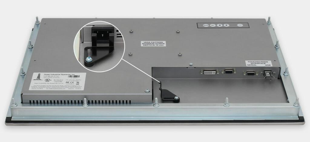 """Monitores industriales de montaje en panel con pantalla panorámica de 22"""" y pantallas táctiles resistentes según IP65/IP66, vista de salida para cables de CA"""