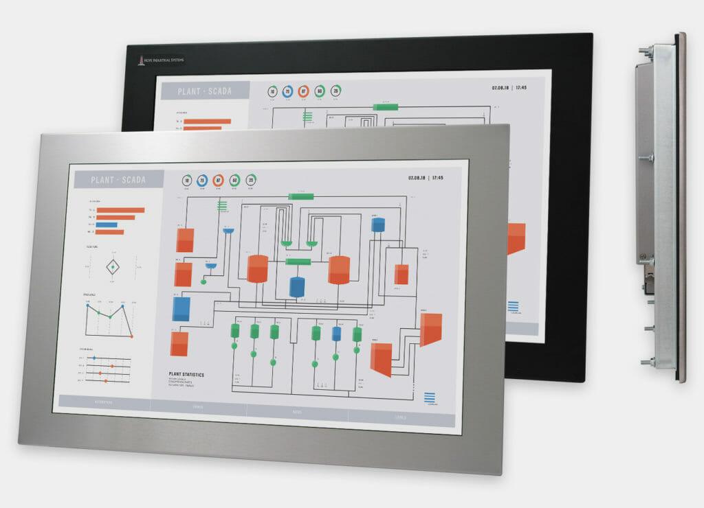 """Monitores industriales de montaje en panel con pantalla panorámica de 22"""" y pantallas táctiles resistentes según IP65/IP66, vistas frontal y lateral"""