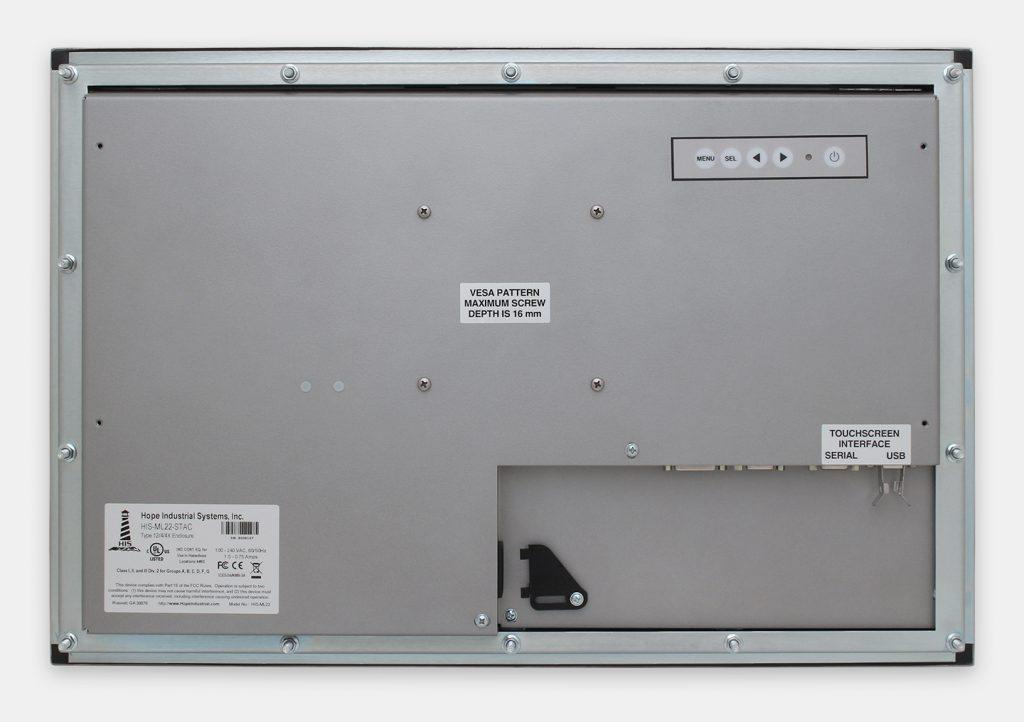 """Monitores industriales de montaje en panel con pantalla panorámica de 22"""" y pantallas táctiles resistentes según IP65/IP66, vista trasera"""